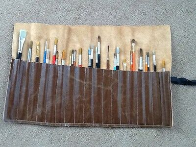 Artist Brush Roll. 100% real leather