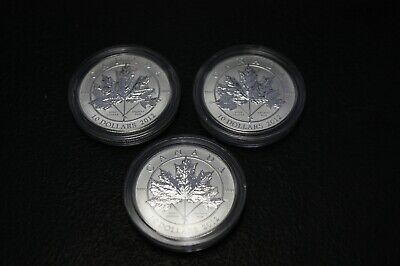 lot of 3 , Canada 2012 Maple Leaf Forever Silver 1/2 OZ .9999