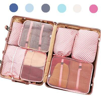 7 Set Luggage Organizer Packing Cubes for Travel Accessories (Pink Striped)