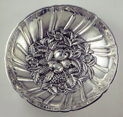 S. Kirk & Son's Sterling Silver Floral Repousse Basket/Candy Dish C.1903