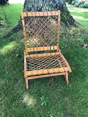 Vtg Antique  Snowshoe Wooden Canoe Seat Folding Oak Rawhide Lodge Cabin