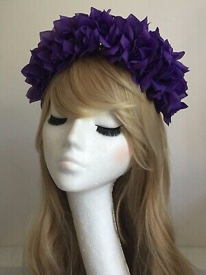 Lilac Rose Flower Crown Garland Headband Hair Band Large 70s style VINTAGE