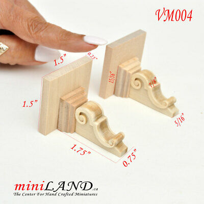 Large Carved wooden corbels brackets with small shelves 2pcs 1:6 dollhouse VM004
