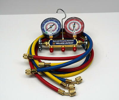 "Yellow Jacket Manifold Gauge 42004 with 60"" RYB Hoses Standard Fitting for R410A"