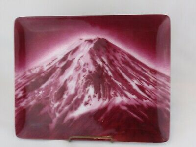 Vintage Japanese Mt Fuji Cloisonne Enamel Tray Strawberry Red Perhaps Ando