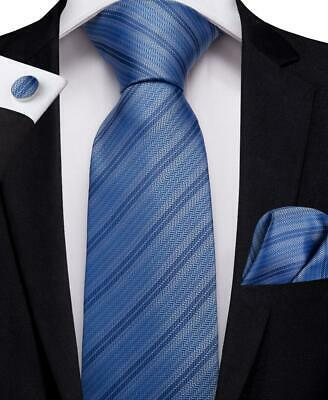 Blue Striped Mens Tie Woven Silk Necktie Set Hanky Cufflinks New Arrival Wedding