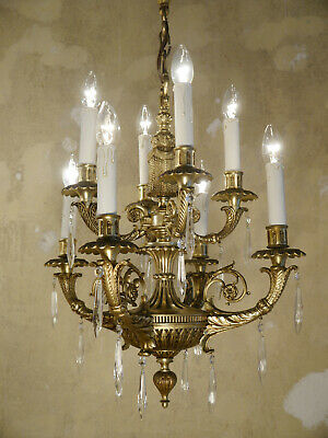 Antique Bronze Glass Chandelier Vintage Lamp Home Decor Spain Icicle Seldom