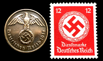 Rare Old WWII German War Coin Two Reichspfennig & Stamp World War 2 Artifacts