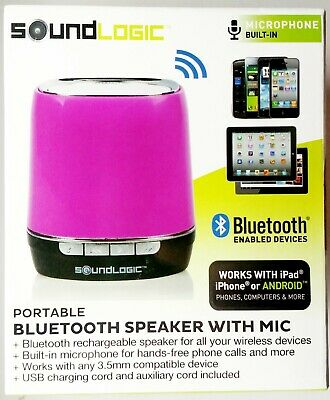 SOUNDLOGIC PORTABLE BLUETOOTH Speaker with Mic Hot Pink Purple IOS