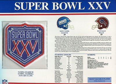 Willabee & Ward Super Bowl XXV 25 Patch NY Giants vs Bills Otis Anderson MVP