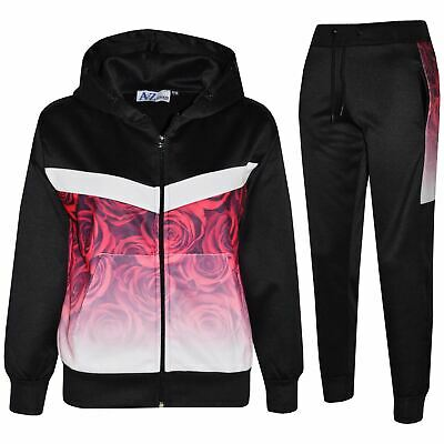 Kids Boys Girls Tracksuits Roses Fade Two Tone Black Hooded Top Bottom Jog Suits