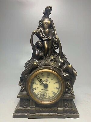 Chinese Old copper handmade Virgin Mechanical clock table Home decoration