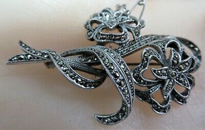 Large, Art Deco Chromed Solid Silver Marcasite Corsage Brooch / Pin.   ref xaed