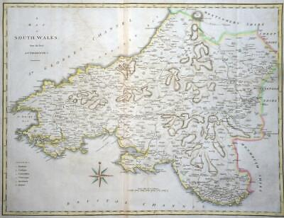 1805 Original Antique LARGE MAP 'SOUTH WALES' by John Cary Outline Colour (LM4)