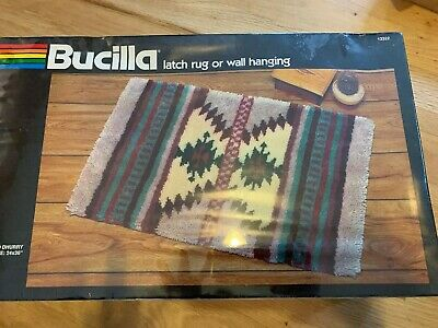 "NEW Bucilla Latch Hook Rug Wall Hanging Mirrored Dhurry 24""x36"" Southwest Aztec"