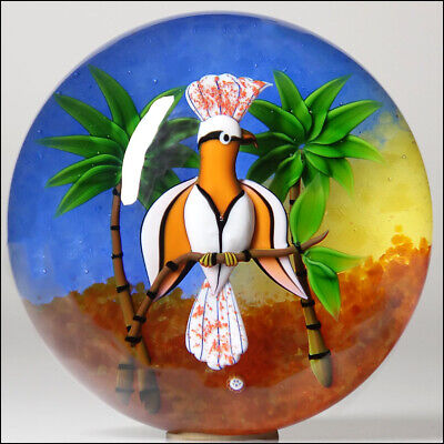 Baccarat French Studio Art Glass Ltd Ed Major Mitchell's Cockatoo Paperweight