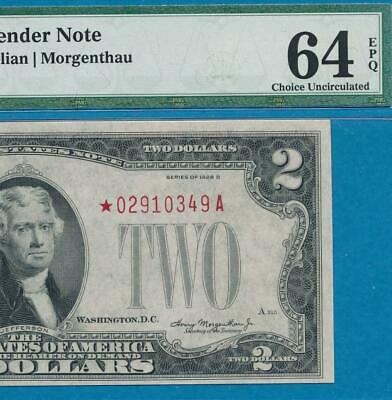 $2.00 1928-D Star  Red Seal  Pmg Choice  New 64Epq United States Note