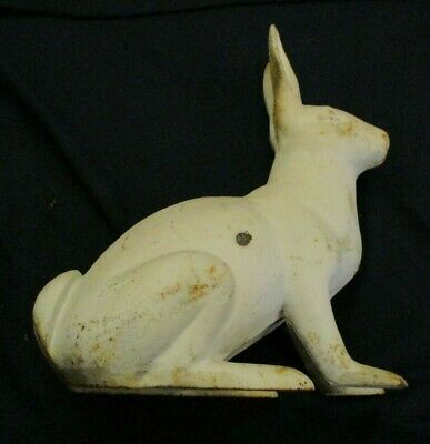 "antique Hubley? cast iron rabbit door stop, life size 11 1/2"" tall, very good co"