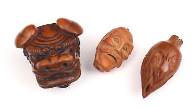 Antique 19thC Japanese Meiji, Carved Wood Netsuke, Lion Mask & 2 Ojime Beads