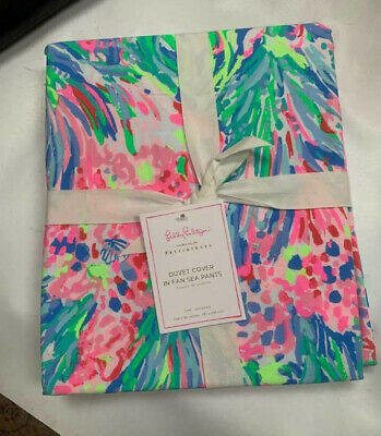 24592d4ad91237 NWT LILLY PULITZER Pottery Barn Fan Sea Pants Reversible Quilt King ...