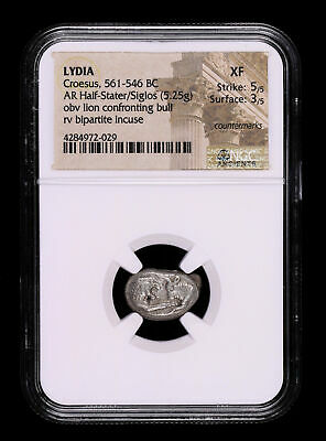 Lydia Croesus 561 - 546 Bc Half Stater Ancient Greek Coin Lion Bull Ngc Xf 5/...