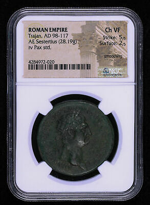 Trajan 95 - 117 Ad Sestertius Ancient Roman Empire Coin Pax Tr Pot Seated Ngc...