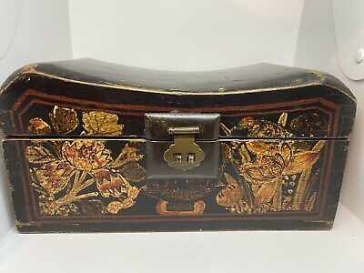 Antique 19c Chinese Hand Painted Box Seat Floral Folklore Look At Sides Inserts