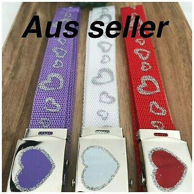 girls belts red purple or white hearts with glitter