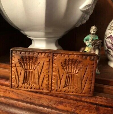 Antique Hand Carved Double Butter Mold Print Primitive Sheaf Wheat