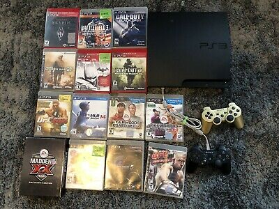 Sony PlayStation 3 Slim 320GB PS3 Bundle Lot - Console, 2 Control,15 Games Pics