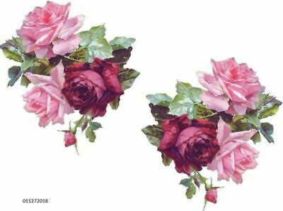 VinTaGe IMaGe XL LighT & DaRK PinK KLeiN RoSeS ShaBby WaTerSLiDe DeCALs