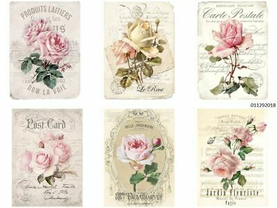 VinTaGe IMaGe MoRe XL PaRiS FRenCh FLoRaL PosT CarDs ShaBby WaTerSLiDe DeCALs