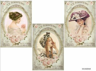 VinTaGe IMaGe XL PaRiS FRenCh PerFuMe LaBeLs ShaBby WaTerSLiDe DeCALs