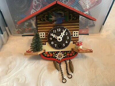 Vintage Small Wooden Swiss Cuckoo Clock Working But Missing Key