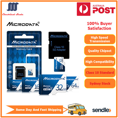 【Free SD Adapter】MicroData SD TF Card 32G -256G Class10 For Mobile Phone Tablets