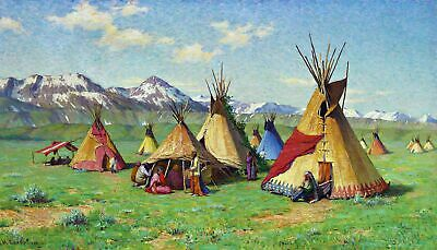 The Medicine Teepee American Indians. Fine Art Repro Print on Canvas