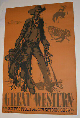 Vintage Earl Newman Poster! Great Western Livestock & Exposition Show!