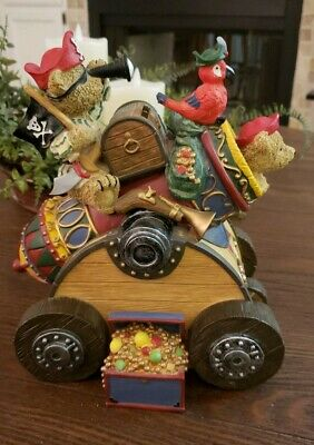 Vintage Collectible Pirates Treasure Bears Pirates Parrot Cannon Bank