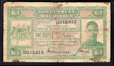 Mauritius; Government Issue. 1 rupee. (1940). D242,813. (Pick 26). VG.