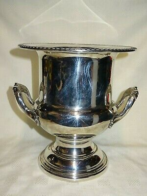 "Vintage Silver Plated Large 10"" Tall Wine Champagne Ice Bucket"