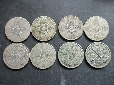 1920, 1922, 1923, 1926, 1929, 1932 1935 Silver Florin, Two Shillings Coins, Gv