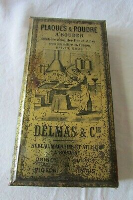Antique French Soldering Powder Advertising Tin for Blacksmiths Metal Workers
