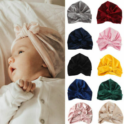 UK Toddler Baby Soft Velvet Winter Hat Indian Turban Cap Bohemia Style Head Wrap