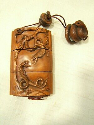 Japanese Carved Wood Inro With Snakes Nicely Done