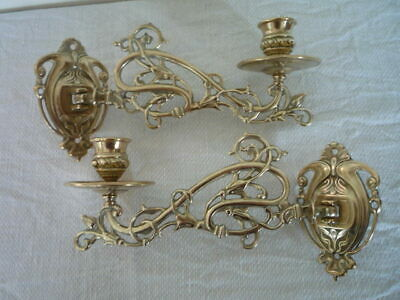 2 Vintage Decorative Brass Candlestick Holders Wall Sconce Piano Nouveau Style *
