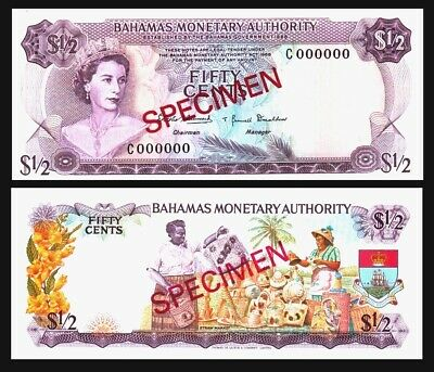 Bahamas, 1/2 $ dollar,/ FIFTY CENTS  L. 1968, P-26CS2, SPECIMEN,QEII, UNC