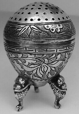 Exquisite Antique Chinese Export Solid Silver Pepperette; Tu Mao Xing c1890