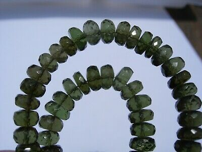 117.5 carats of nice checkered cut beads 6 x 3 mm MOLDAVITE necklace 18 inches