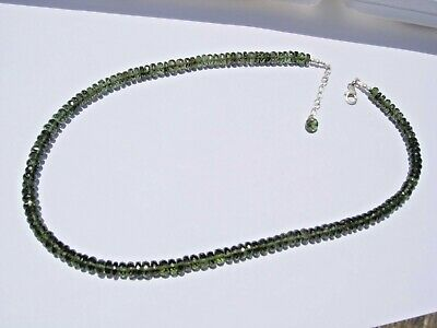 112.3 carats of nice checkered cut beads 6 x 3 mm MOLDAVITE necklace 18 inches