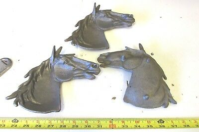 3 Vintage Cast Iron   Horse Head   Spoon Rest Coin Tray Key Holder